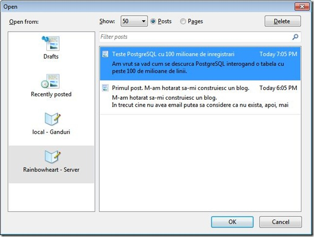 editare pagini/postari in Windows Live Writer
