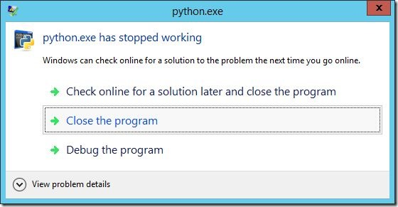 python crash windows server 2012